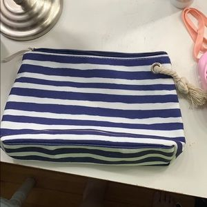 5 for $20😍 Canvas Navy Blue & White Makeup Bag